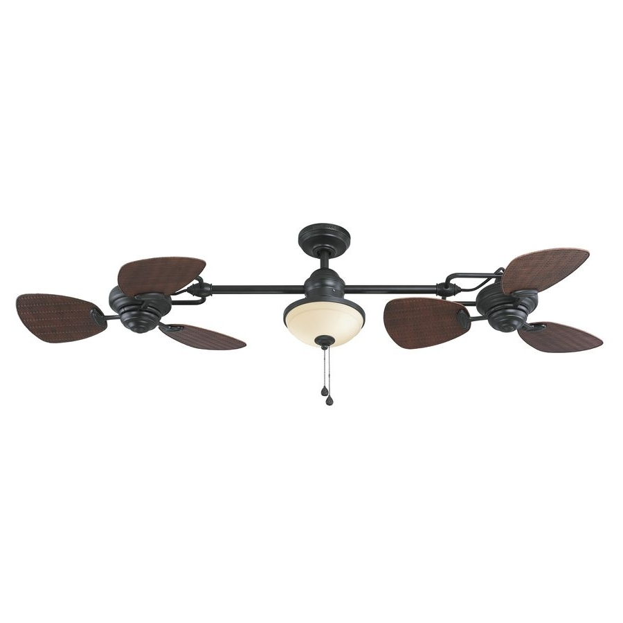 Well Liked Harbor Breeze Twin Breeze Ii 74 In Oil Rubbed Bronze Downrod Mount Throughout Outdoor Ceiling Fans With Long Downrod (View 8 of 20)