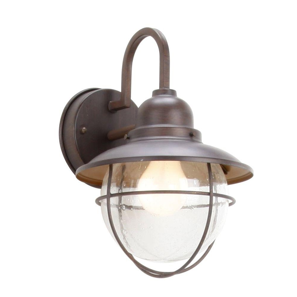 Well Liked Home Depot Outdoor Lanterns Within Hampton Bay 1 Light Brick Patina Outdoor Cottage Lantern Boa1691H B (View 14 of 20)