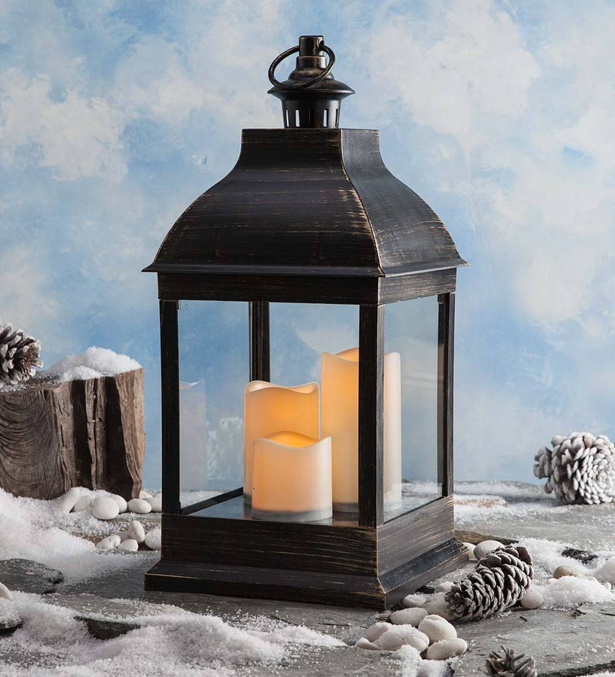 Well Liked Indoor Outdoor Lanterns For Indoor/outdoor Lantern With Led Candles And Remote (View 20 of 20)
