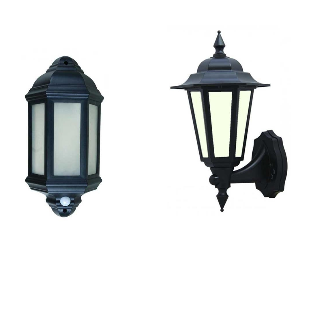 Well Liked Led Outdoor Garden Wall Half Lantern Pir Black Ip44 External 7 Watt Intended For Outdoor Lanterns With Pir (View 14 of 20)