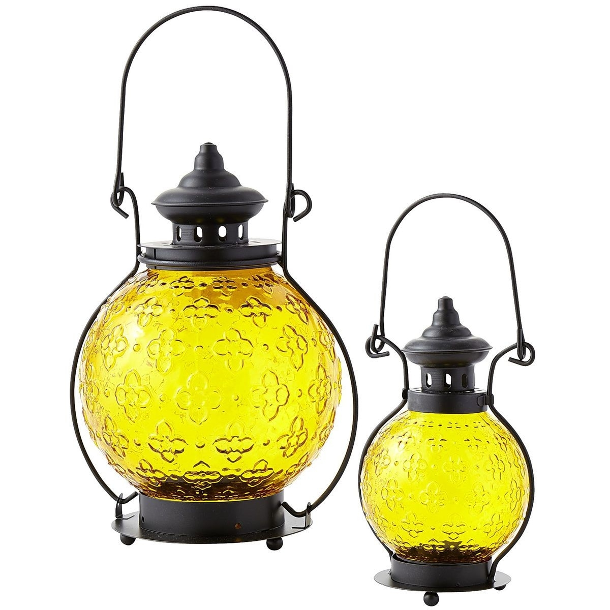 Well Liked Medallion Glass Lanterns – Yellow (View 13 of 20)