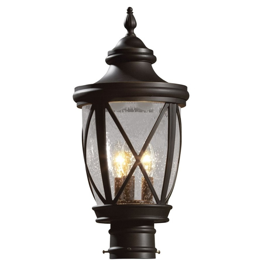 Well Liked Outdoor Lanterns At Lowes In Lighting: Charming Design Black Bronze Glass Post Light Lowes (View 19 of 20)