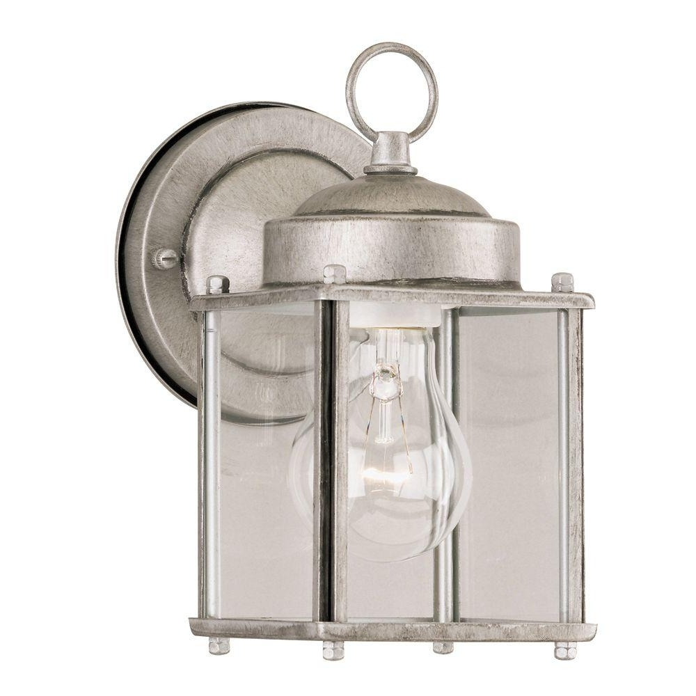 Westinghouse 1 Light Antique Silver Steel Exterior Wall Lantern With With Regard To Well Known Silver Outdoor Lanterns (View 9 of 20)
