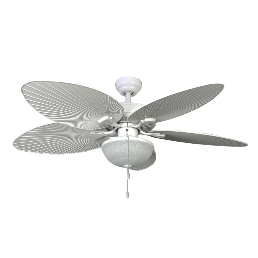 White Outdoor Ceiling Fans With Lights Inside Trendy Shop Palm Coast Playa Mia 52 In White Indoor/outdoor Ceiling Fan (View 18 of 20)