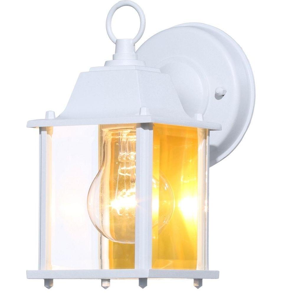 White Outdoor Lanterns Regarding Newest Hampton Bay 1 Light White Outdoor Wall Lantern Bpm1691 Wht – The (View 9 of 20)