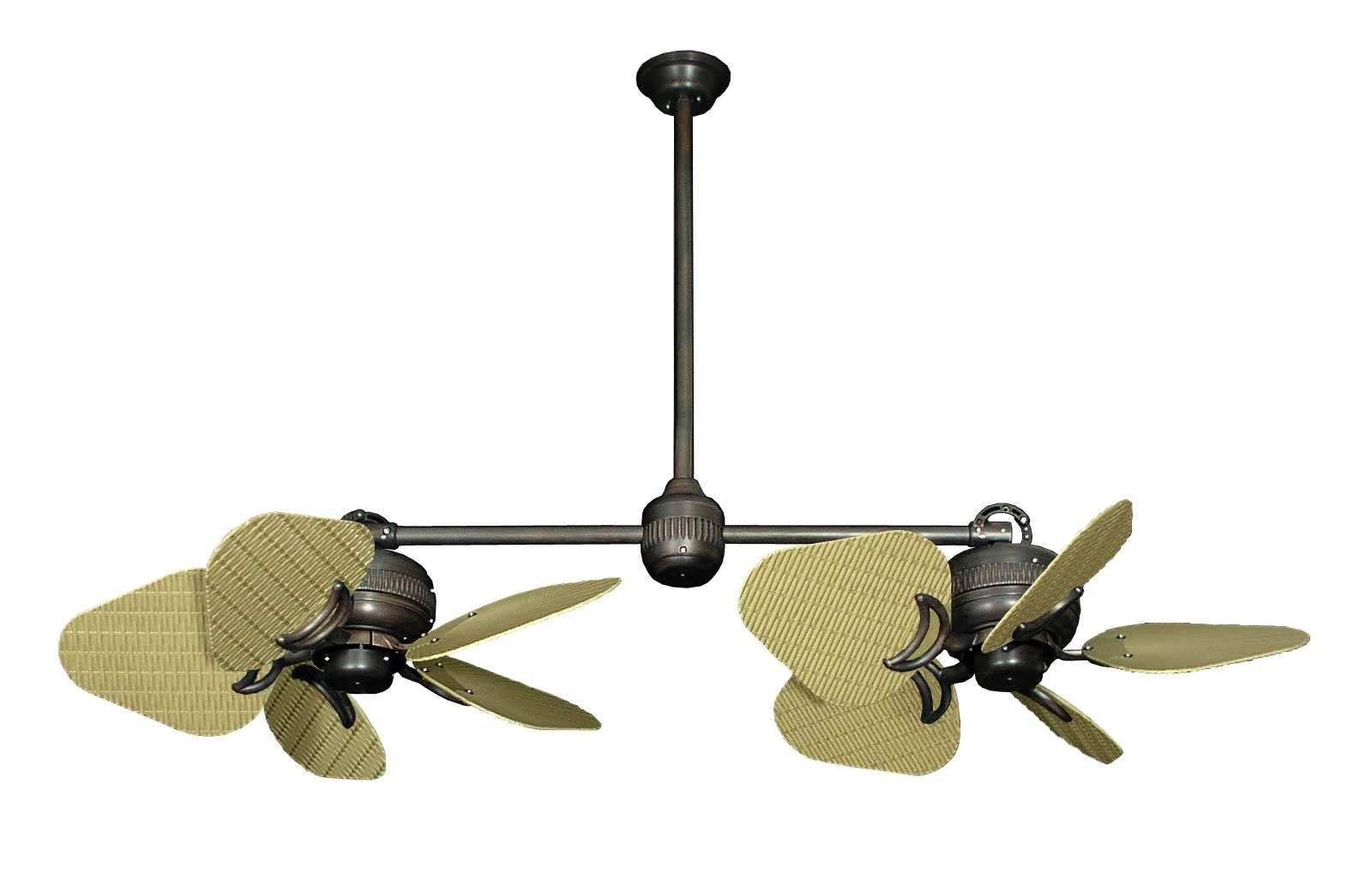Wicker Outdoor Ceiling Fans With Lights With Regard To Well Known Dans Fan City Miami Twin Star Ii Double Ceiling Fan Abs Wicker/leaf (View 19 of 20)