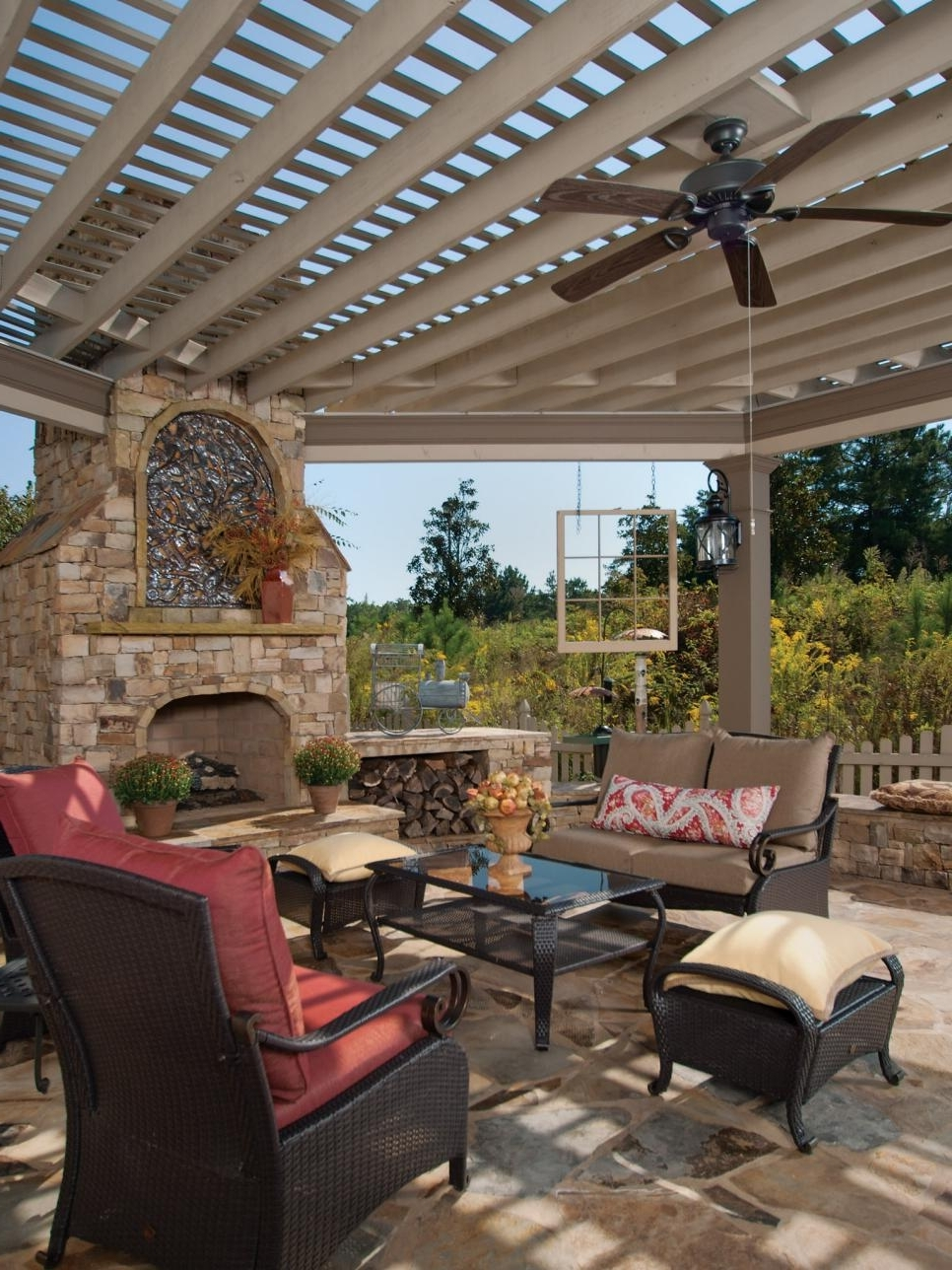 Wicker Outdoor Ceiling Fans With Newest Ideas: Enchanting Patio Design With White Pergola Design And (View 20 of 20)