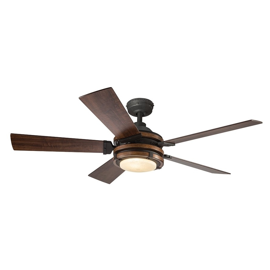 Widely Used Kichler Lighting 52 In Distressed Black And Wood Ceiling Fan Regarding Outdoor Ceiling Fans At Kichler (View 20 of 20)