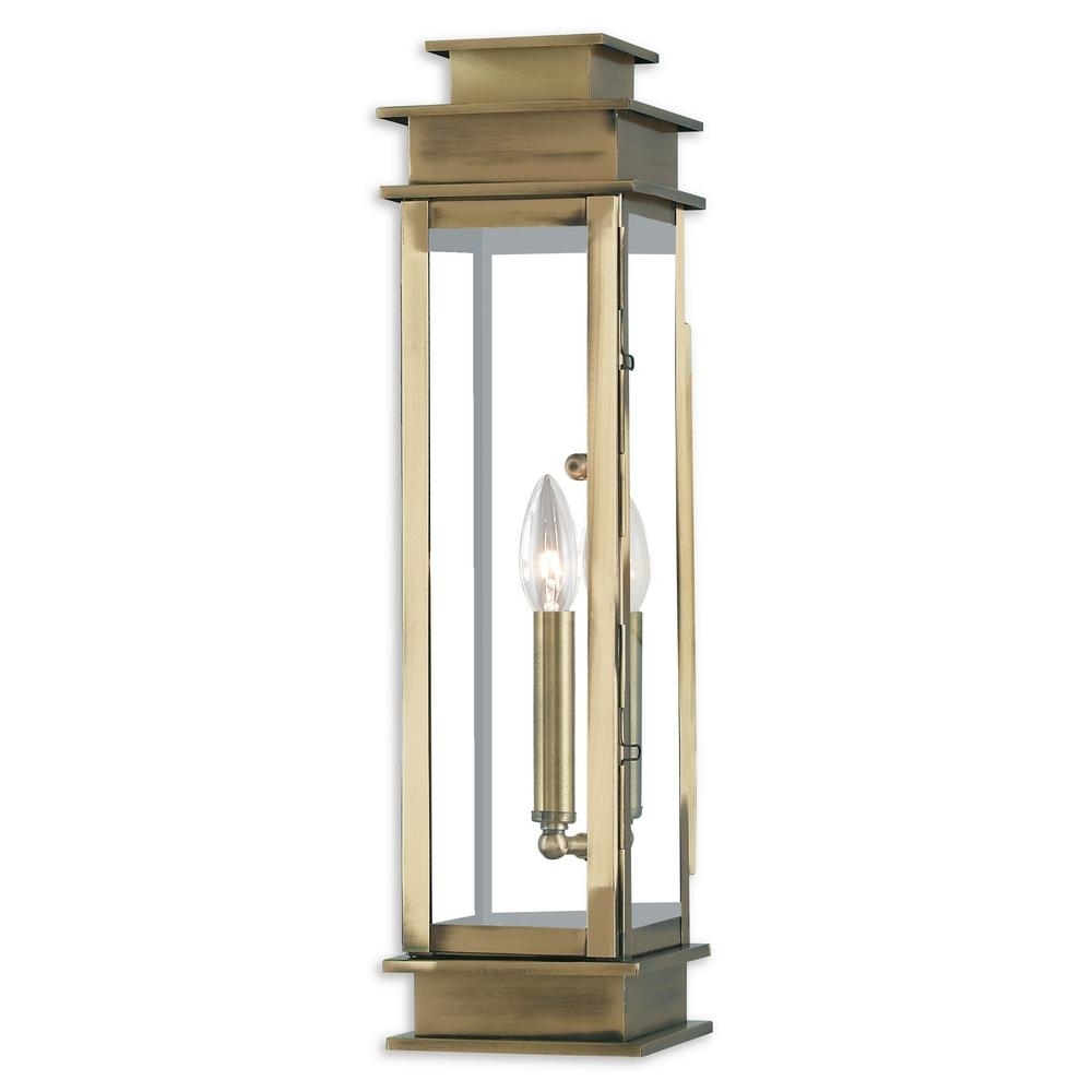 Widely Used Livex Lighting Princeton 1 Light Antique Brass Outdoor Wall Mount Pertaining To Brass Outdoor Lanterns (View 20 of 20)