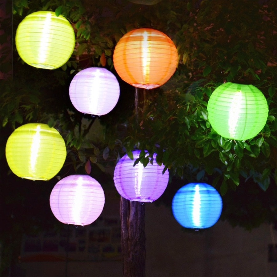 Widely Used Outdoor Big Lanterns With 5Pcs Outdoor 25Cm Big Lantern Ball Solar Hanging Landscape Lamps (View 20 of 20)