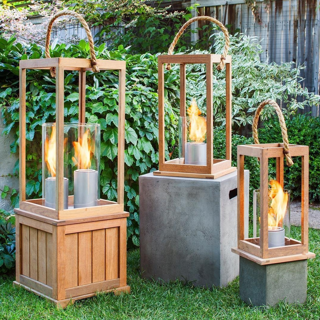 Widely Used Outdoor Gel Lanterns Pertaining To Terra Flame Sonoma 21 Inch Gel Lantern – Ipe Wood : Ultimate Patio (View 10 of 20)