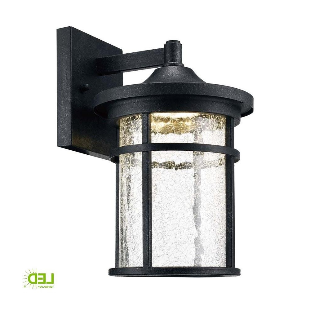 Widely Used Outdoor Iron Lanterns Within Home Decorators Collection Aged Iron Outdoor Led Wall Lantern With (View 4 of 20)