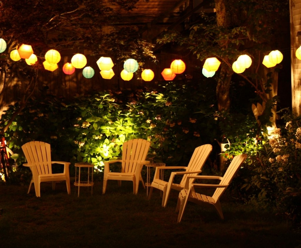 Widely Used Outdoor Lanterns For Tables With Regard To Outdoor Lamp For Patio With Teak Small Table And Colorful Lamps (View 17 of 20)