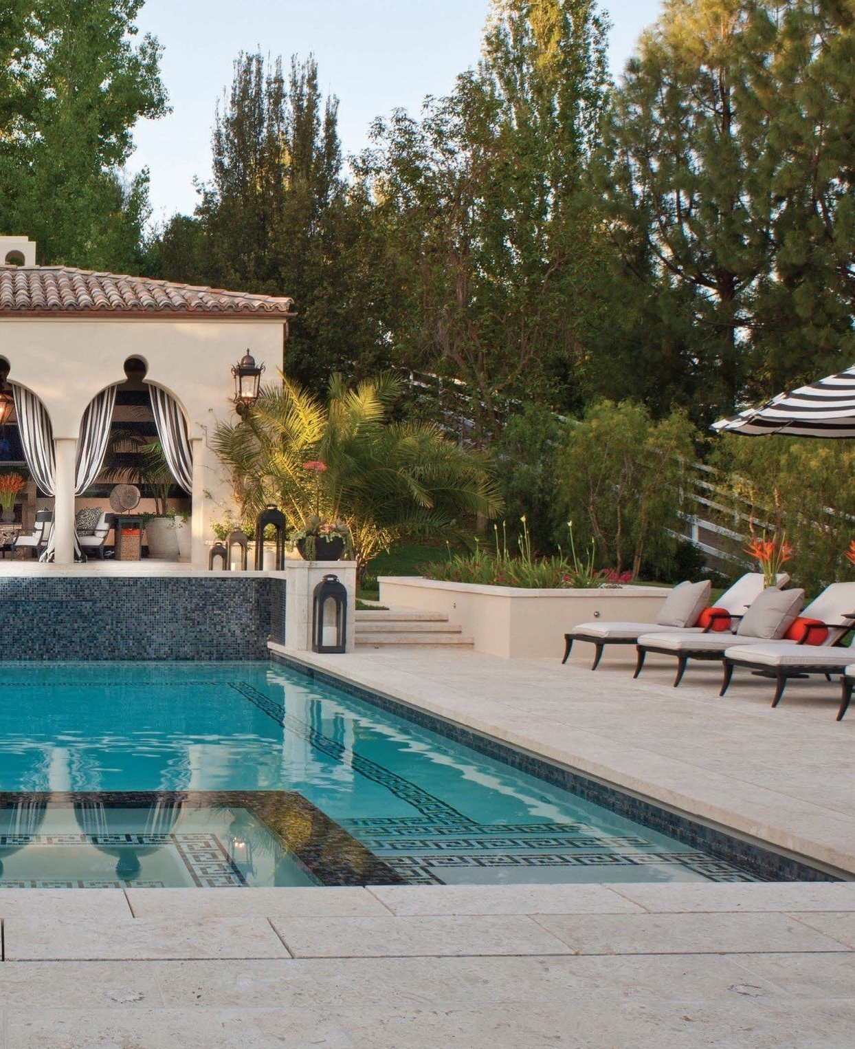 Widely Used Outdoor Pool Lanterns Intended For Outdoor Striped Drapes, Exterior Curtains, Greek Key Design In Pool (View 6 of 20)