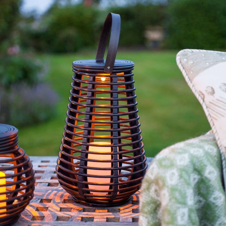 Widely Used Outdoor Rattan Lanterns Within Tall Solar Rattan Lantern Lightlights4fun (View 8 of 20)