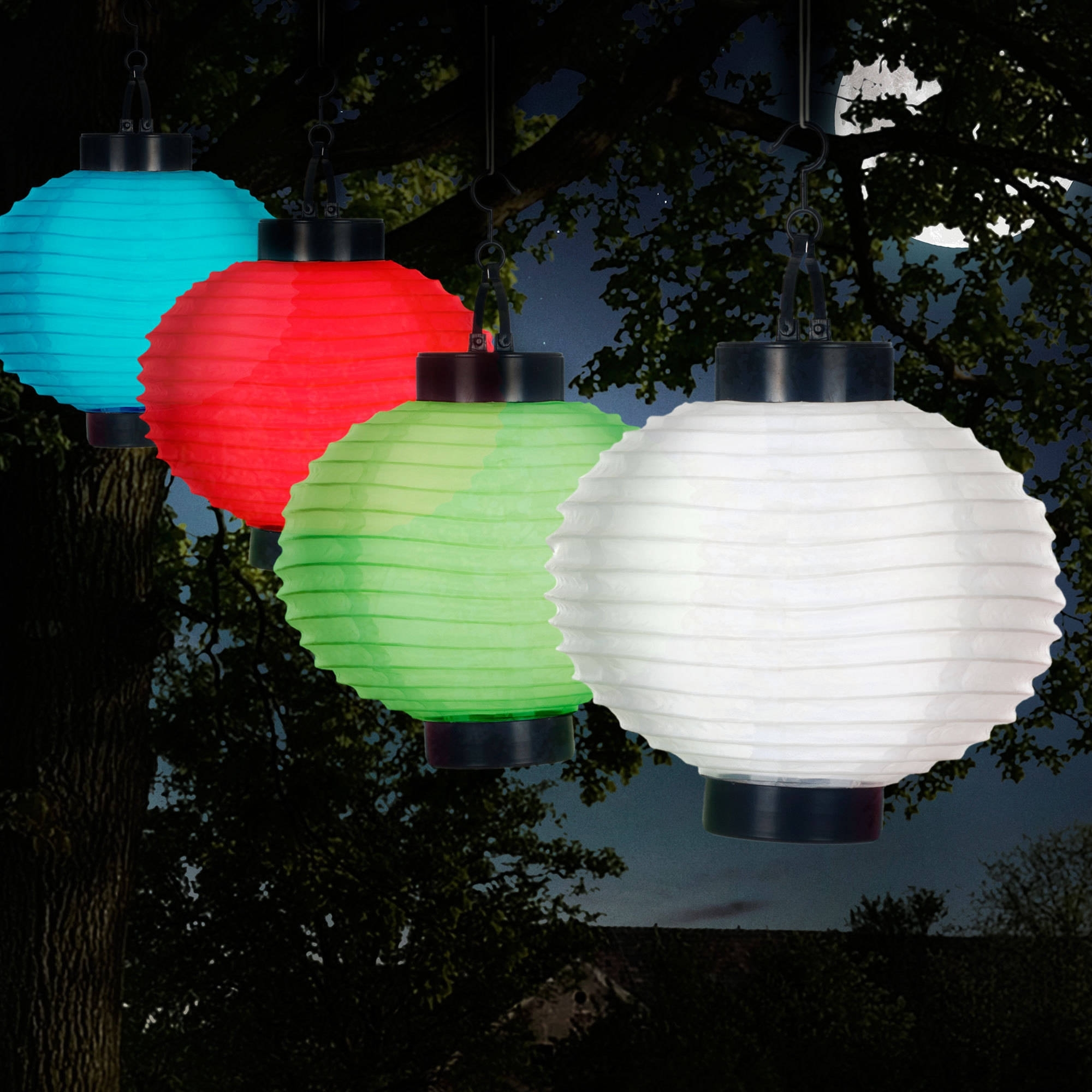 Widely Used Pure Garden Outdoor Solar Chinese Lanterns, Led, Set Of 4 – Walmart Throughout Outdoor Nylon Lanterns (View 5 of 20)