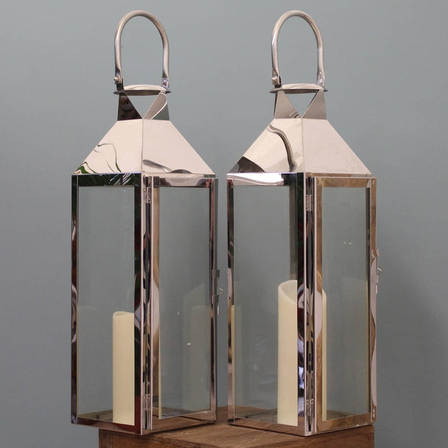 Widely Used Silver Outdoor Lanterns With Regard To Two Knightsbridge Silver Candle Lanterns 55Cmgarden Selections (View 20 of 20)