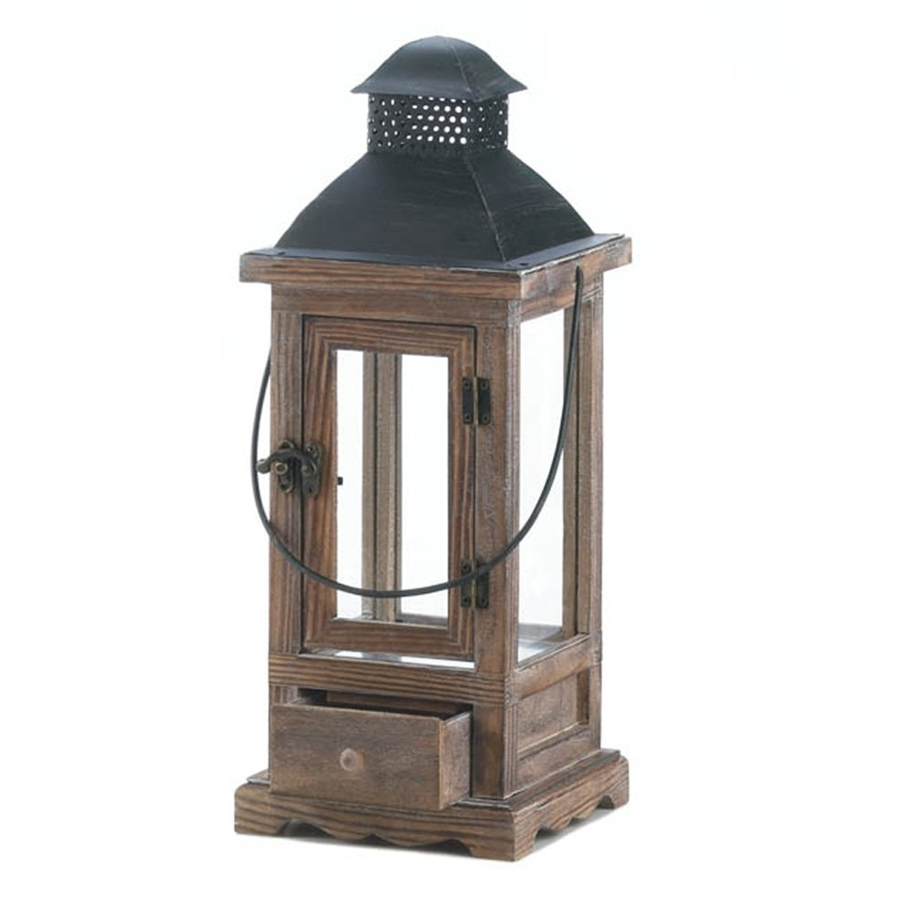 Wooden Lantern Candle Holder, Rustic Candle Lanterns Outdoor For Regarding Most Popular Outdoor Lanterns And Candles (View 13 of 20)