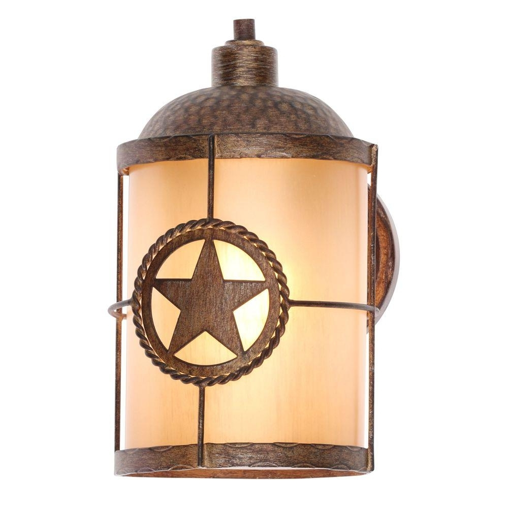 Yellow Outdoor Lanterns For Most Recently Released Hampton Bay Lone Star 1 Light Desert Sands Outdoor Wall Mount (View 17 of 20)