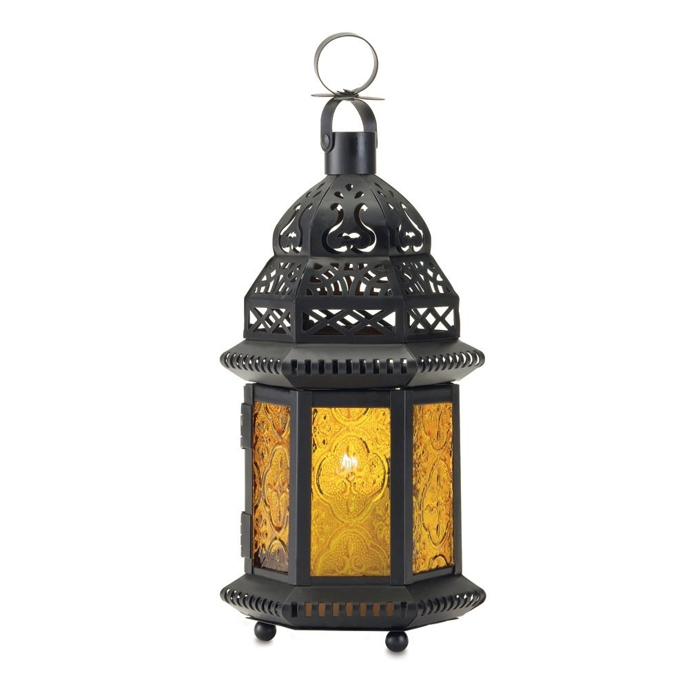Yellow Outdoor Lanterns Inside Famous Moroccan Lantern Holder, Decorative Moroccan Lanterns Outdoor (Gallery 1 of 20)