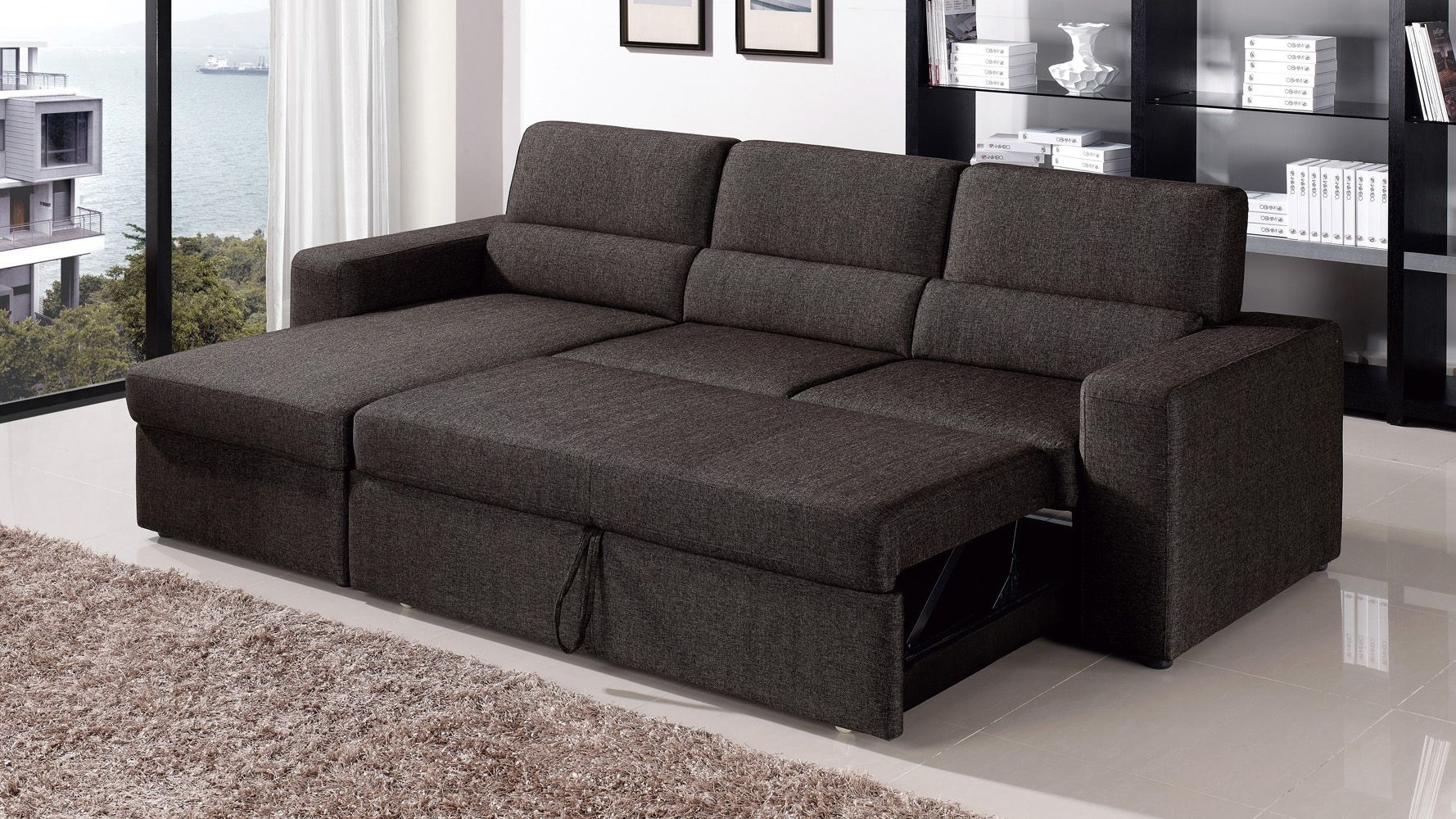 15 Best Collection Of Sleeper Sofas With Chaise With Regard To Most Recent Taren Reversible Sofa/chaise Sleeper Sectionals With Storage Ottoman (View 17 of 20)