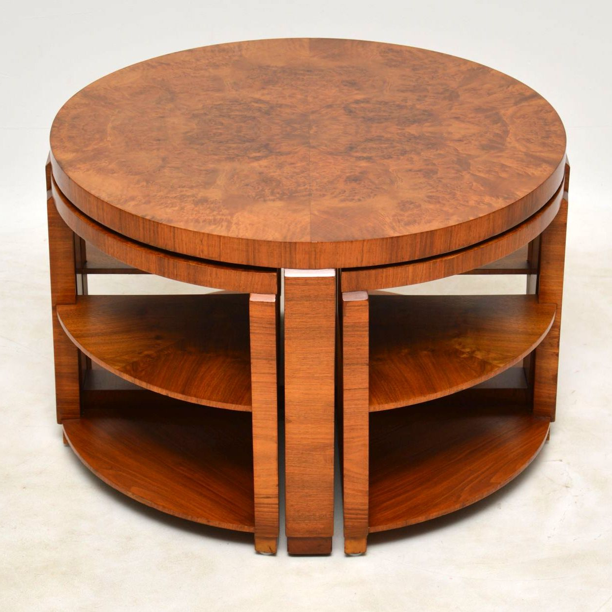 1920's Art Deco Burr Walnut Nesting Coffee Table (Gallery 7 of 20)