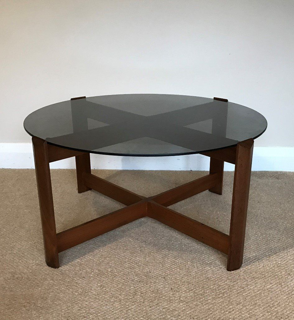1970's Retro Vintage Round Teak Coffee Table With Smoked Glass Top Within Most Current Round Teak Coffee Tables (View 11 of 20)