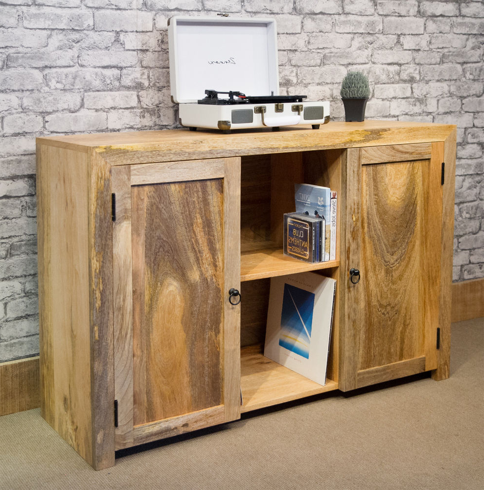2 Door/2 Drawer Cast Jali Sideboards For Latest Mantis Solid Natural Mango Wood Sideboard 2X Cupboard, Media Unit Lp (View 2 of 20)