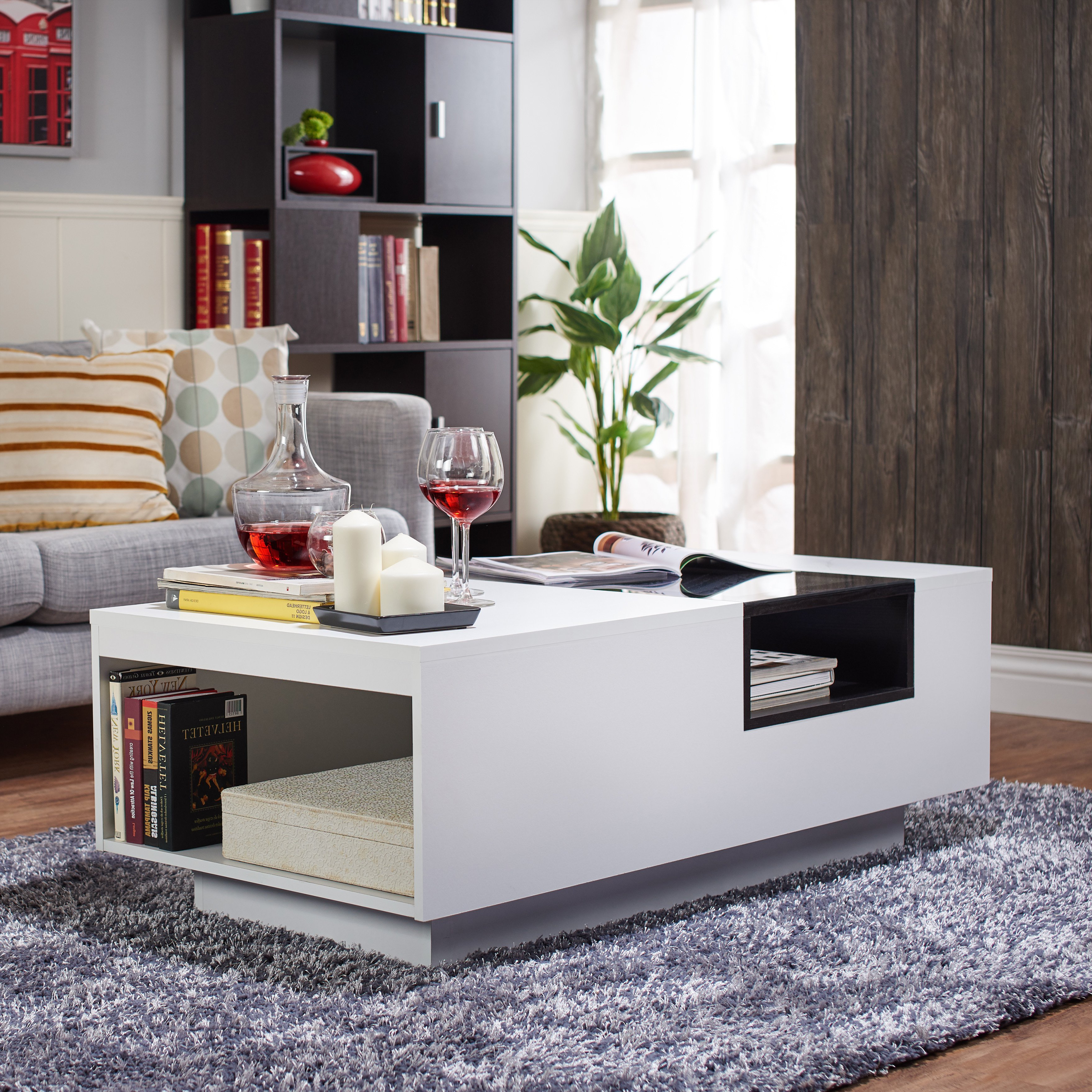 2 Tone Grey And White Marble Coffee Tables In Recent Shop Furniture Of America Kassalie Modern Two Tone White/black Glass (View 13 of 20)