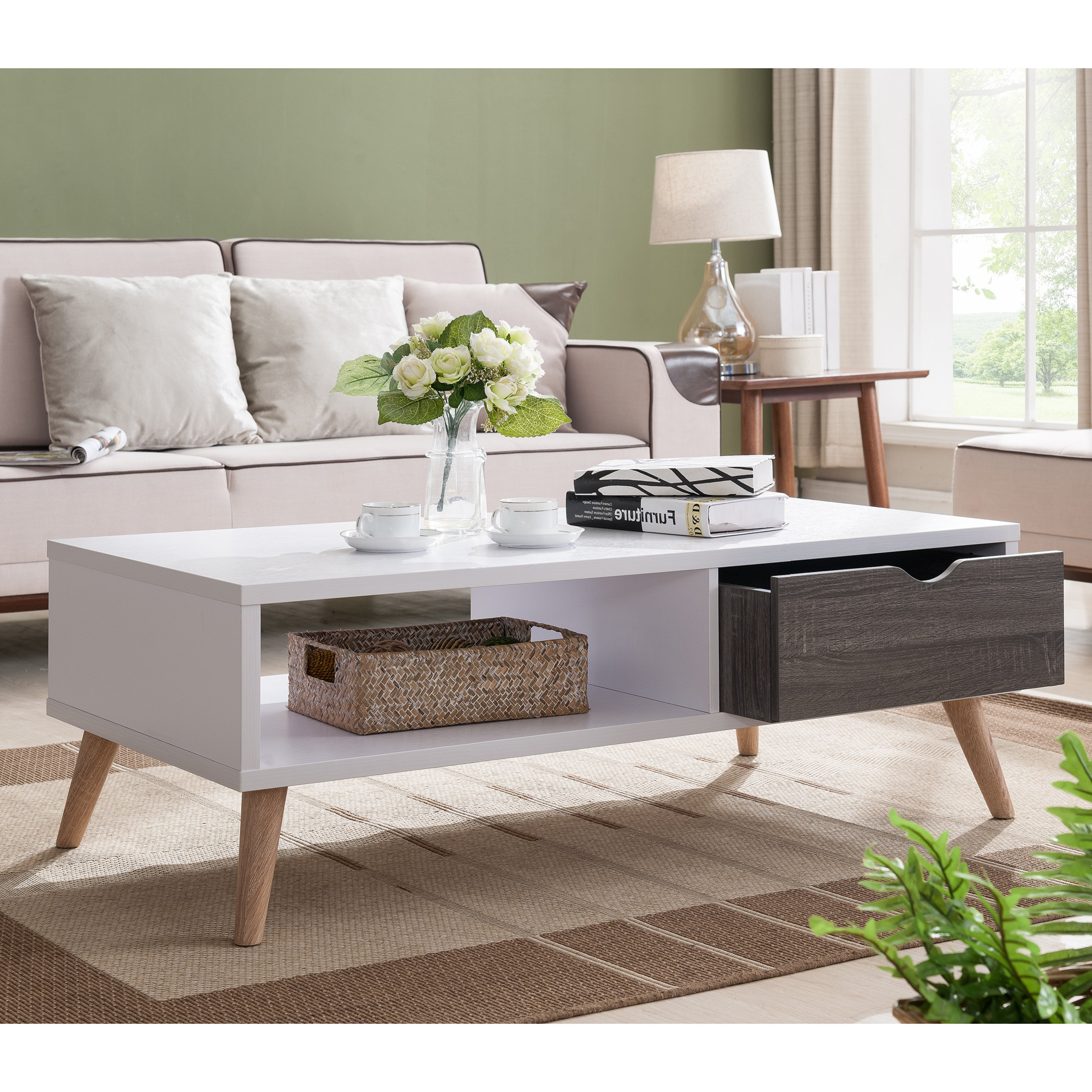 2 Tone Grey And White Marble Coffee Tables In Well Known Shop Furniture Of America Arella Ii Mid Century Modern 2 Tone (View 8 of 20)