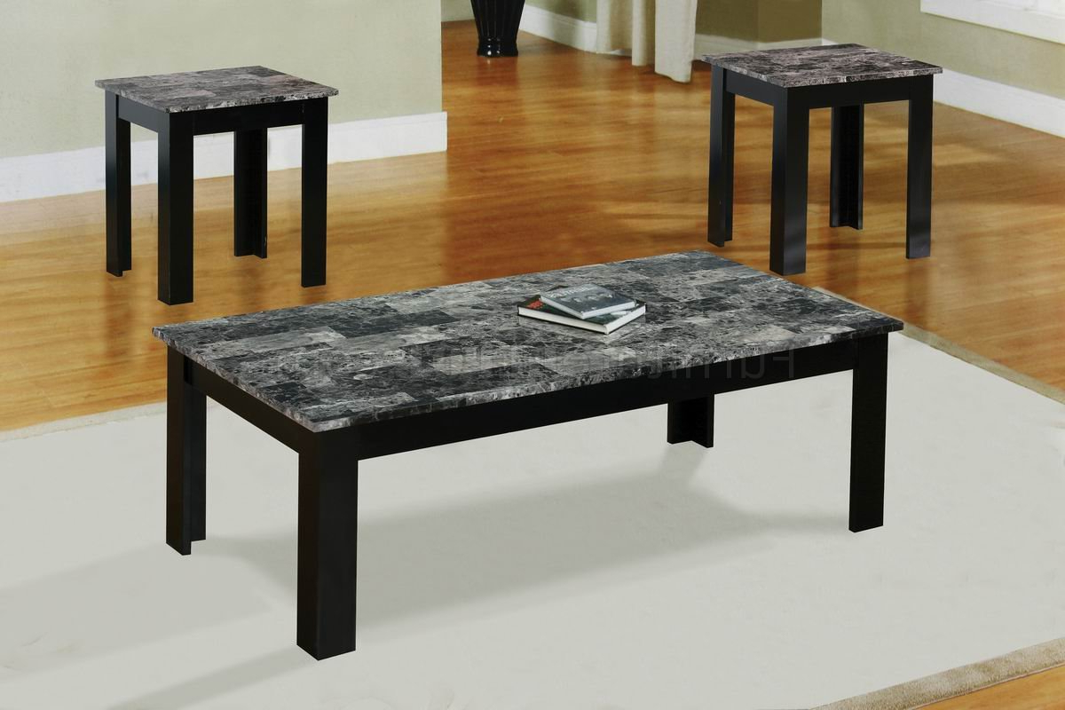 2 Tone Grey And White Marble Coffee Tables Throughout 2018 Black Faux Marble Top Modern 3Pc Coffee Table Set W/wood Base (View 6 of 20)