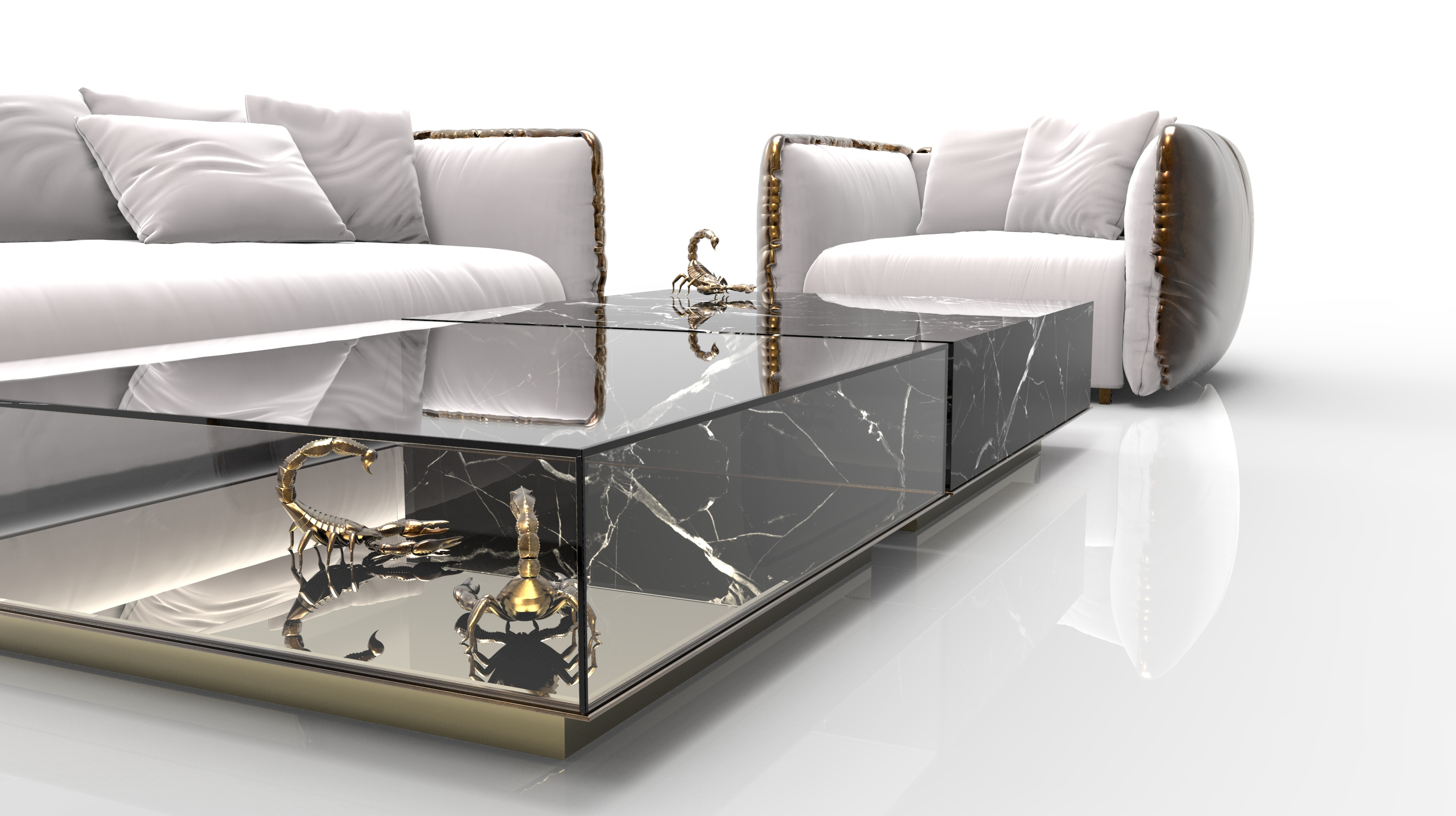2 Tone Grey And White Marble Coffee Tables With Regard To Latest Marble Coffee And Side Table Designs On Home Interiors (View 7 of 20)
