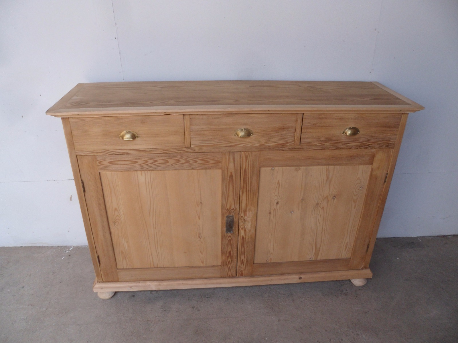 2018 Aged Pine 3 Drawer 2 Door Sideboards Intended For Large Narrow Old Pine 2 Door 3 Drawer Kitchen Dresser Base To Wax (View 1 of 20)