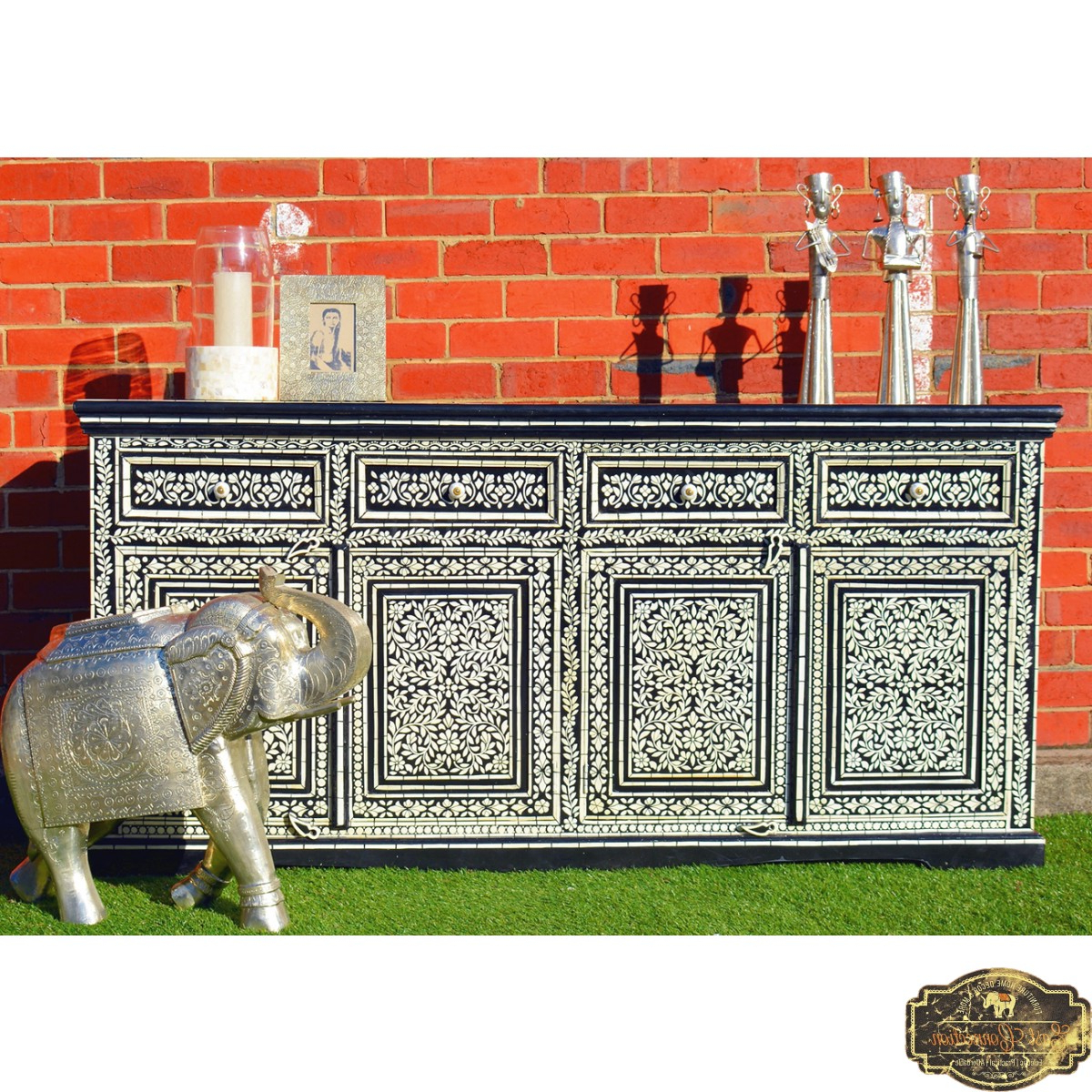 2018 Black Hand Painted Sideboard Cabinet Buffet Indian Moroccan Antique With Regard To Geo Pattern Black And White Bone Inlay Sideboards (View 1 of 20)