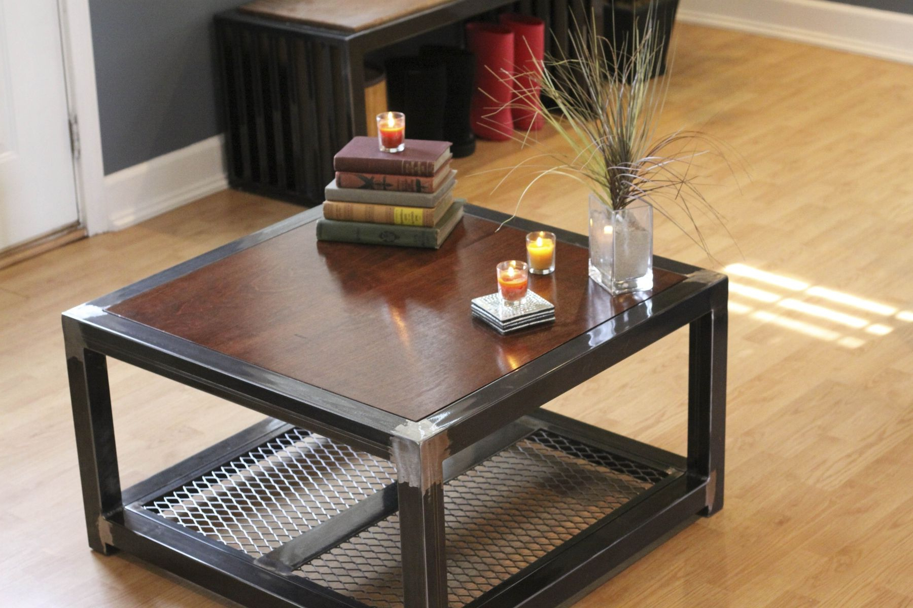 2018 Coffee Table Fresh Design Wood Metal And Wooden Boxes Floor Lot With Pine Metal Tube Coffee Tables (View 10 of 20)