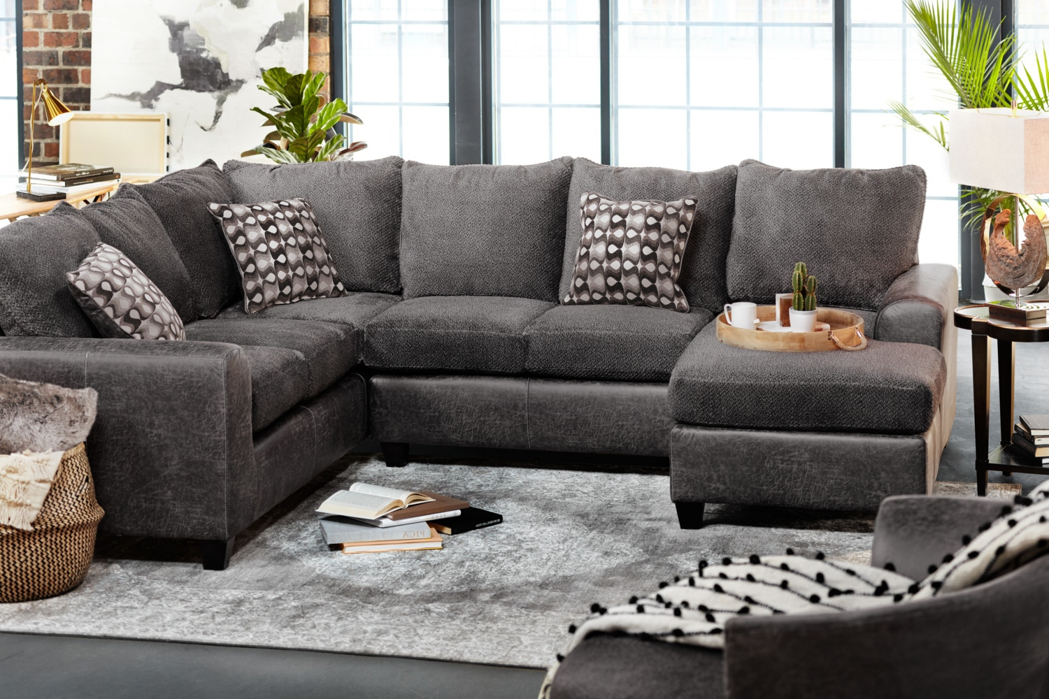 2018 Delano Smoke 3 Piece Sectional Living Spaces – Locsbyhelenelorasa With Delano 2 Piece Sectionals With Raf Oversized Chaise (View 1 of 20)