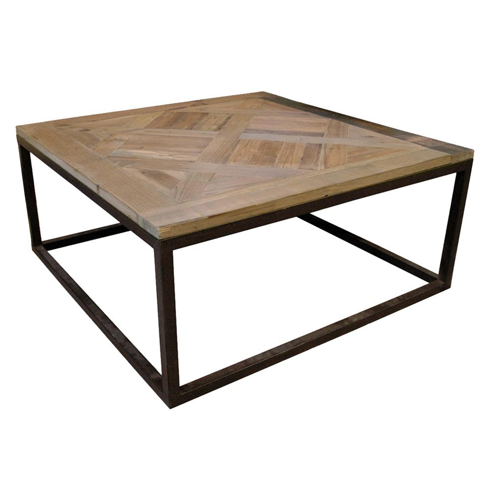 2018 Iron Wood Coffee Tables With Wheels With Gramercy Modern Rustic Reclaimed Parquet Wood Iron Coffee Table (View 7 of 20)