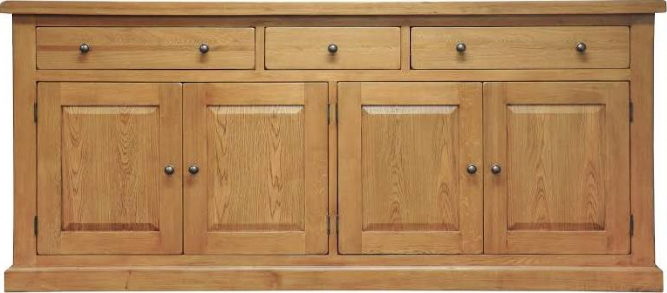 2018 Leyton Oak Extra Large Sideboard With Oil Pale Finish 4 Door Sideboards (View 1 of 20)