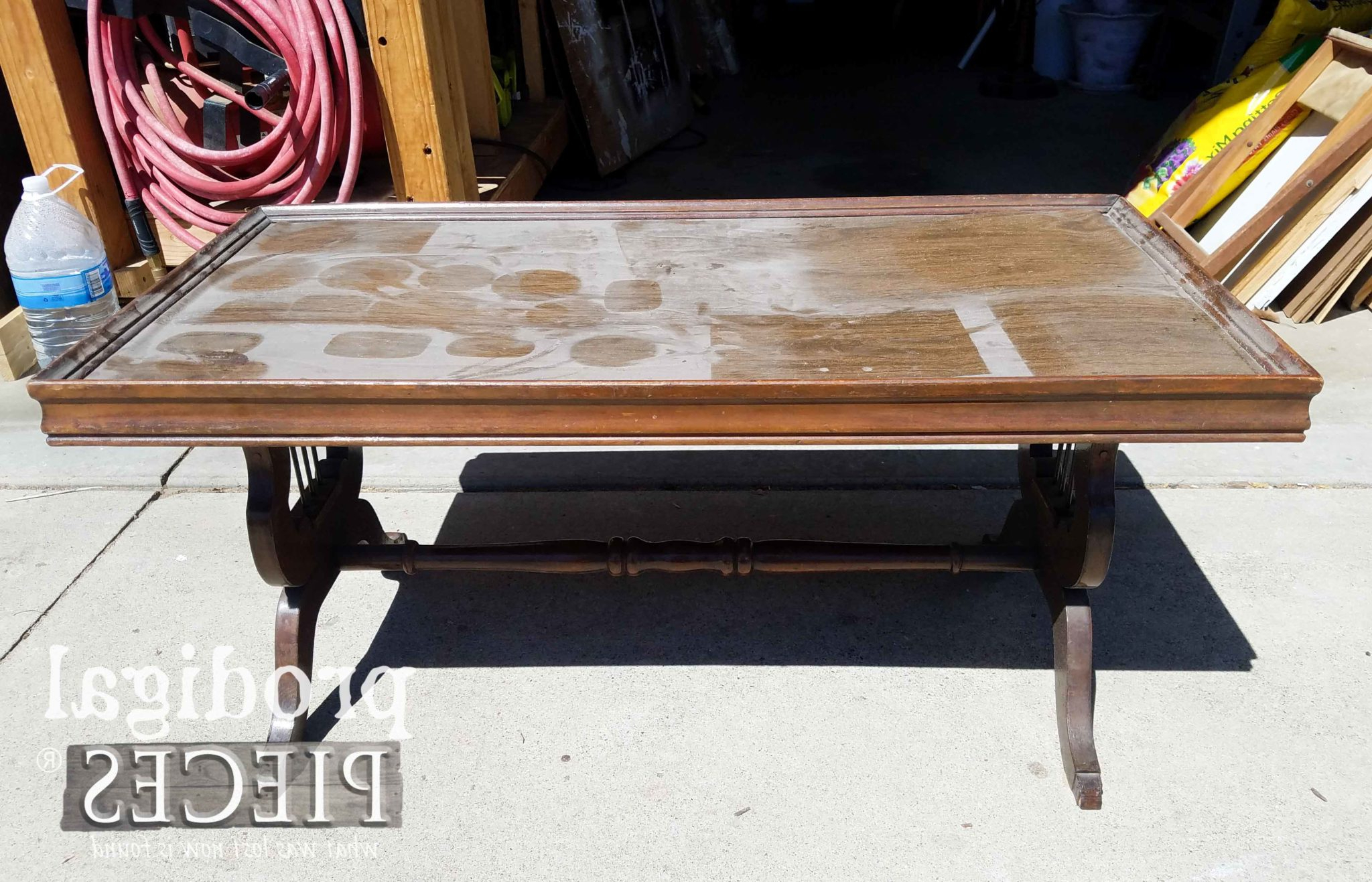 2018 Lyre Coffee Tables Within Antique Lyre Coffee Table Rescued & Restored – Prodigal Pieces (View 10 of 20)