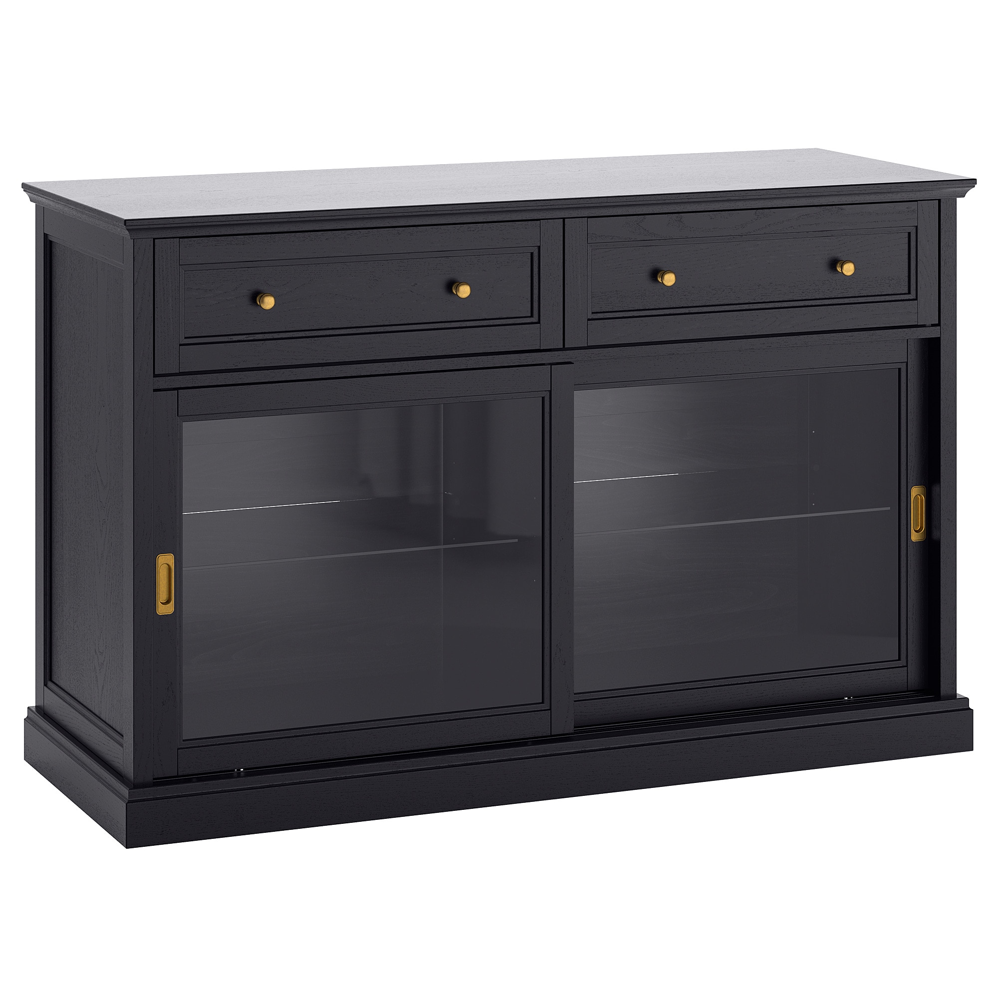 2018 Malsjö Sideboard Basic Unit Black Stained 145 X 92 Cm – Ikea For Open Shelf Brass 4 Drawer Sideboards (View 19 of 20)