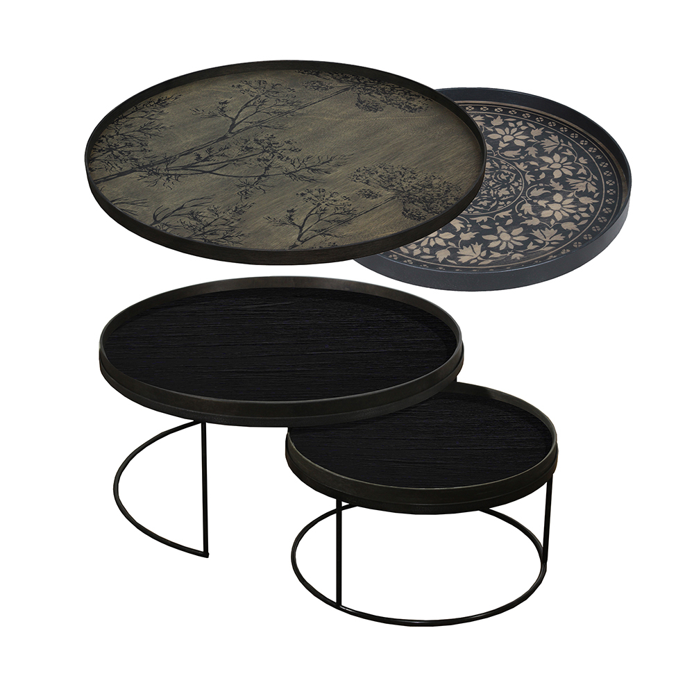 2018 Marrakesh Side Tables Within Tray Nesting Tables Low Round Xl – Black Marrakesh And Black Dill (View 1 of 20)