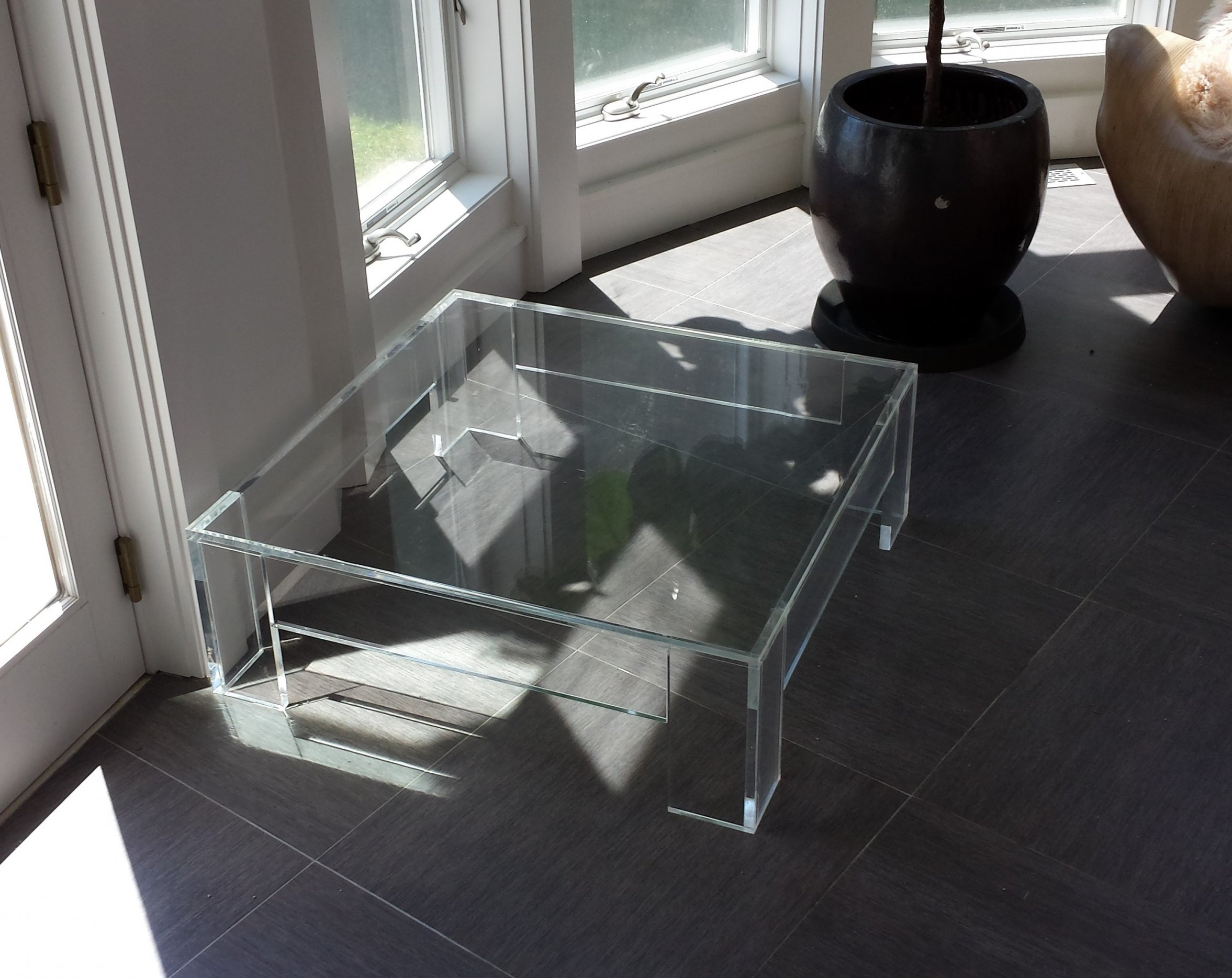 2018 Modern Acrylic Coffee Tables Regarding Modern Square Clear Acrylic Coffee Table With Shelf In Living Room (View 1 of 20)