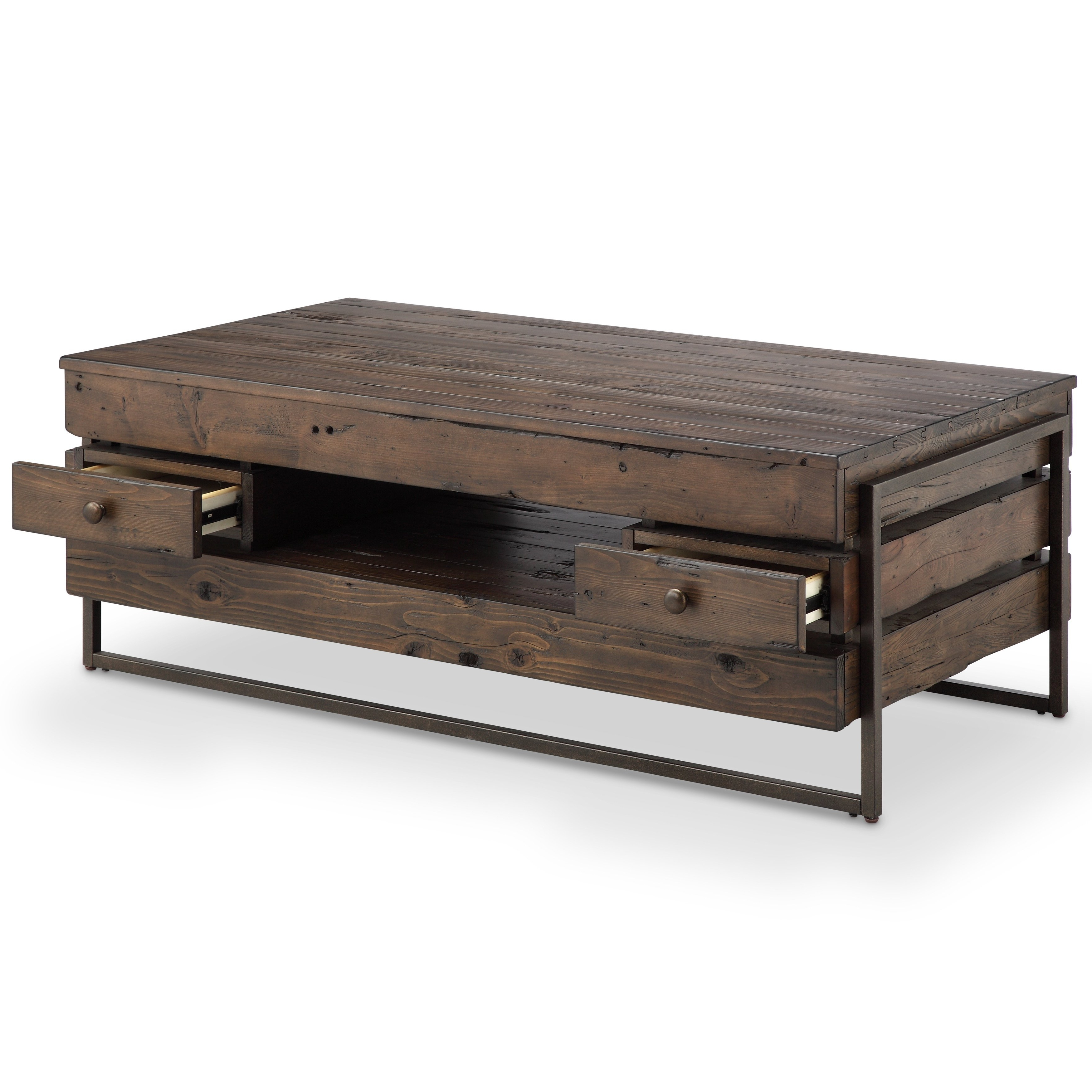 2018 Modern Rustic Coffee Tables Regarding Shop Kirkwood Modern Rustic Dark Whiskey Reclaimed Wood Coffee Table (View 1 of 20)