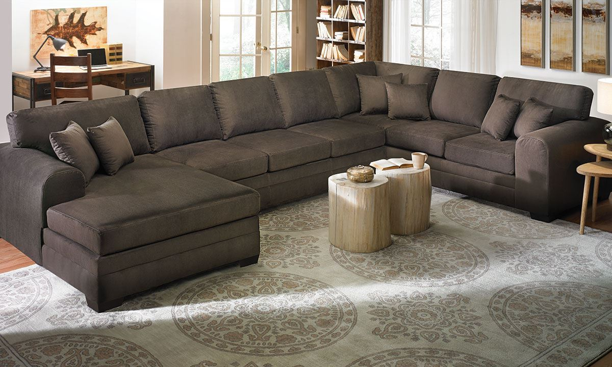 2018 Norfolk Chocolate 6 Piece Sectionals Pertaining To Contemporary Room Size Chaise Sectional (View 19 of 20)