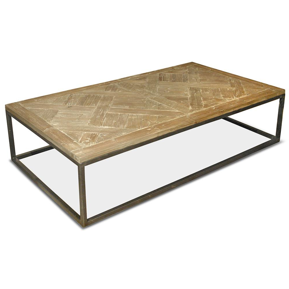 2018 Reclaimed Pine & Iron Coffee Tables Inside Stevenson Rustic Lodge White Wash Reclaimed Pine Metal Coffee Table (Gallery 1 of 20)