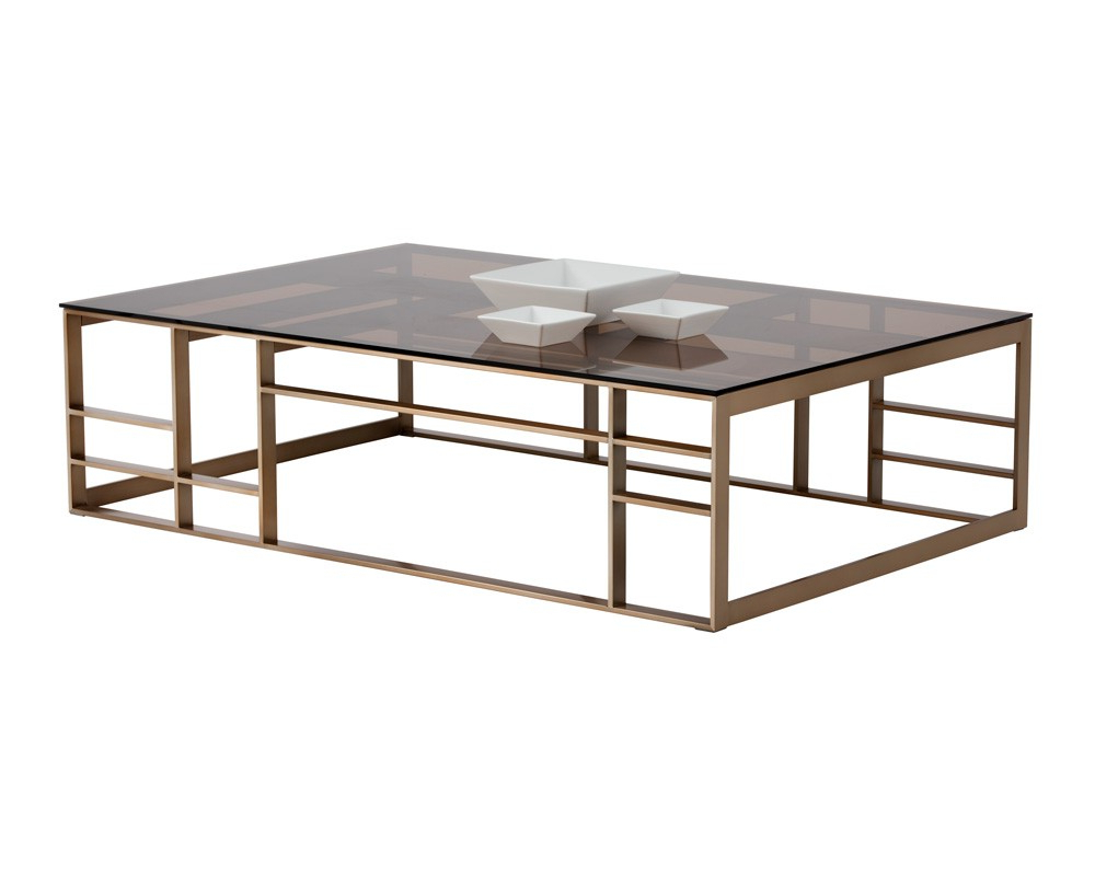 2018 Rectangular Brass Finish And Glass Coffee Tables Within Joanna Coffee Table – Rectangular – Antique Brass – Brown Glass (Gallery 12 of 20)