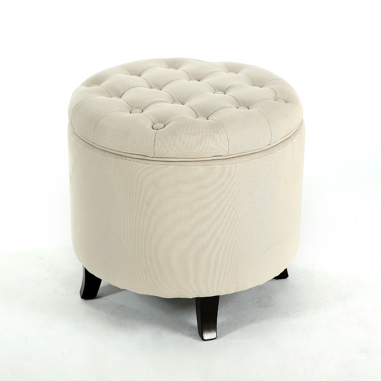 2018 Round Button Tufted Coffee Tables For Elegant Fabric Tufted Button Ottoman Round Footstool Coffee Table (View 1 of 20)