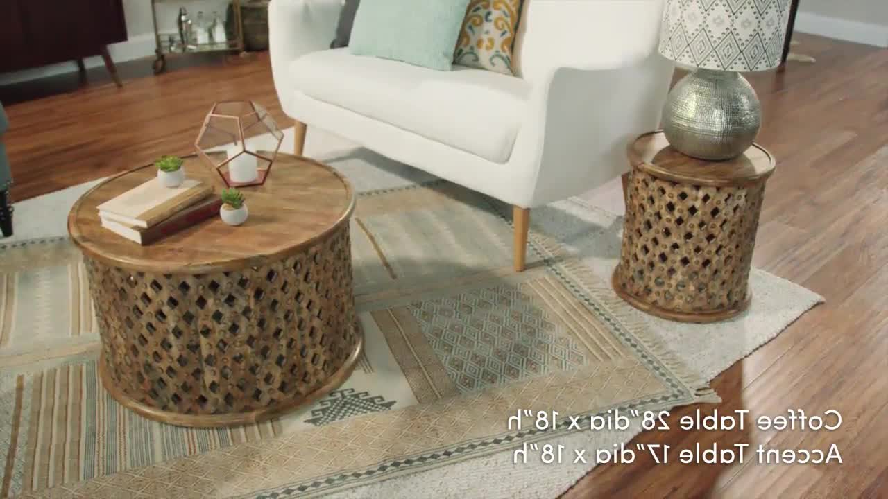 2018 Round Carved Wood Coffee Tables Intended For Carved Wood Coffee Table Round Tribal Carved Wood Coffee Table (View 2 of 20)
