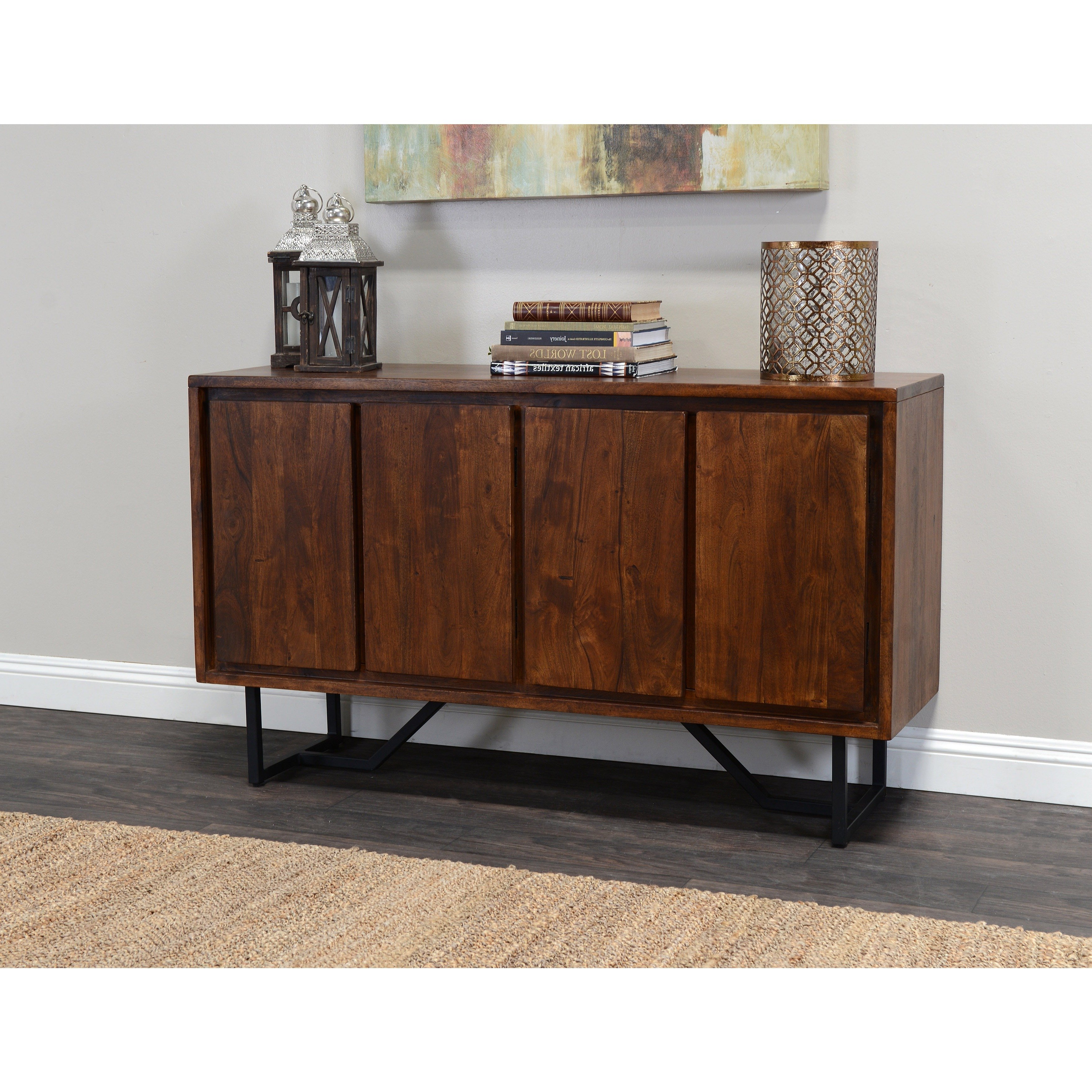 2018 Shop Kosas Home Wabby 4 Door Dark Walnut Sideboard – Free Shipping With Regard To Walnut Finish 4 Door Sideboards (View 1 of 20)