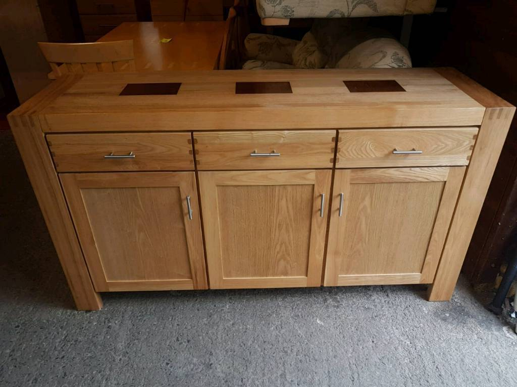 2018 Solid Oak Sideboard With Chrome Handles (Gallery 9 of 20)